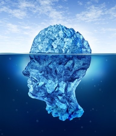 human brain risks with an iceberg